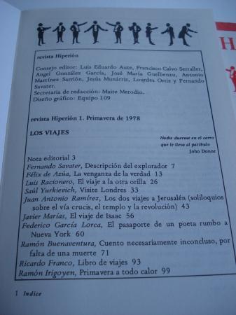 Revista HIPERIÓN Colección completa (6 números). Madrid, 1978-1981. Nº 1: Los viajes - Nº 2: La carne-Nº 3: Jesuitas - Nº 4: El excremento - Nº 5: Amor y muerte en américa Latina - Nº 6: El miedo