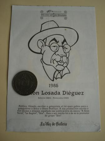 Antón Losada Diéguez / A. Iglesia Alvariño. Medalla conmemorativa 40 aniversario Día das Letras Galegas. Colección Medallas Galicia ao pé da letra