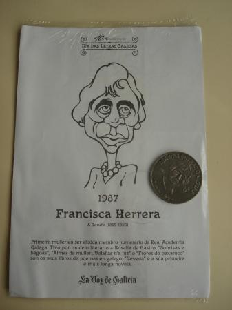 Francisca Herrera / R. Otero Pedrayo. Medalla conmemorativa 40 aniversario Día das Letras Galegas. Colección Medallas Galicia ao pé da letra