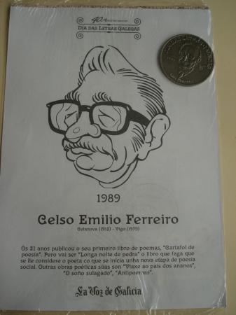 Celso Emilio Ferreiro / Luis Pimentel. Medalla conmemorativa 40 aniversario Día das Letras Galegas. Colección Medallas Galicia ao pé da letra