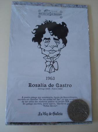 Rosalía de Castro / A. D. Rodríguez Castelao. Medalla conmemorativa 40 aniversario Día das Letras Galegas. Colección Medallas Galicia ao pé da letra