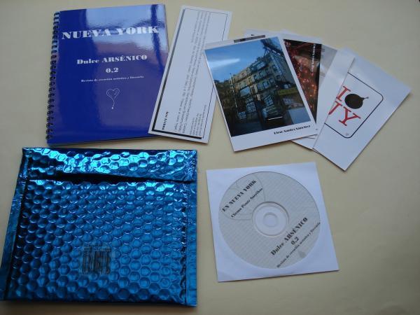 NUEVA YORK. Dulce ARSÉNICO O,2. Revista de creación artística y literaria. Cuadernillo, Marcapáginas, Tarjetas y CD