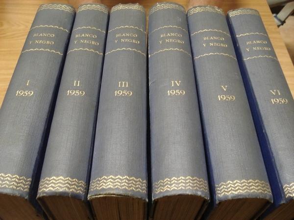 REVISTA BLANCO Y NEGRO. 6 TOMOS. NÚMEROS 2435 a 2486. AÑO 1959 COMPLETO. DEL 6-1-1958 AL 27-12-1959
