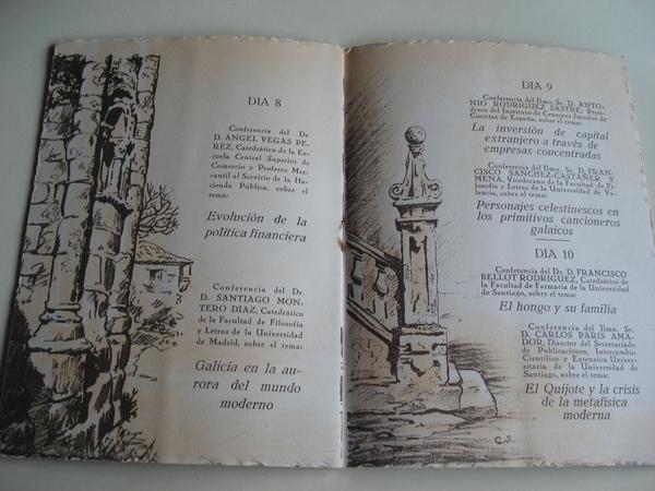 Programa  de mano. X CURSO DE VERANO EN VIGO (Galicia). AÑO 1952. UNIVERSIDAD DE SANTIAGO DE COMPOSTELA