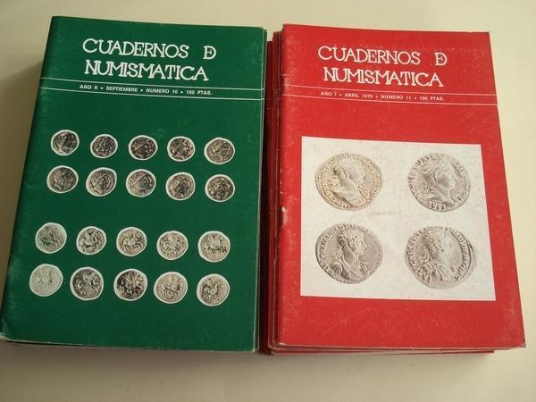 REVISTA CUADERNOS DE NUMISMÁTICA. Números 1 a 27, en 24 revistas (3 son números dobles: 14-15, 24-25 y 26-27) De mayo de 1978 a julio-agosto de 1980.