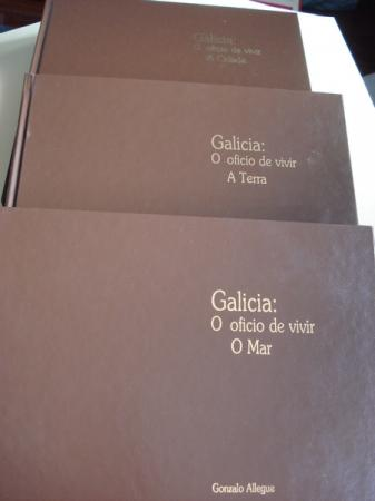 3 Volumes en estoxo da Colección Galicia: O oficio de vivir. A Terra / A Cidade / O Mar (Textos en galego-español-english)