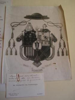 Ver os detalles de:  Primeiro blasón do Arcebispo D. Fernando Quiroga Palacios ao ser nomeado Bispo de Mondoñedo en 1944. O lote inclúe unha descrición do escudo, en papel orixinal do Archivo Heráldico de los Sres. de Rújula, Reyes de Armas de S. M. (Madrid, febrero, 1945)