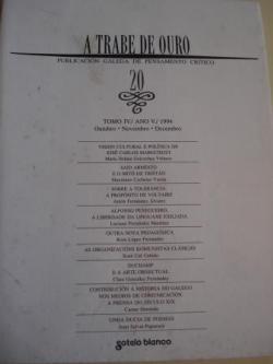 Ver os detalles de:  A TRABE DE OURO. PUBLICACIÓN GALEGA DE PENSAMENTO CRÍTICO. Número 20, Outubro-Novembro-Decembro, 1994