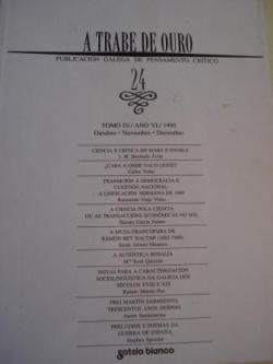 Ver os detalles de:  A TRABE DE OURO. PUBLICACIÓN GALEGA DE PENSAMENTO CRÍTICO. Número 24, Outubro-Novembro-Decembro, 1995
