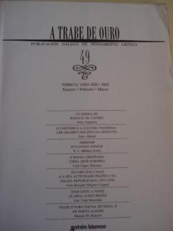 Ver os detalles de:  A TRABE DE OURO. PUBLICACIÓN GALEGA DE PENSAMENTO CRÍTICO. Número 49, Xaneiro-Febreiro-Marzo, 2002