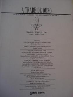 Ver os detalles de:  A TRABE DE OURO. PUBLICACIÓN GALEGA DE PENSAMENTO CRÍTICO. Número 50, Abril-Maio-Xuño, 2002