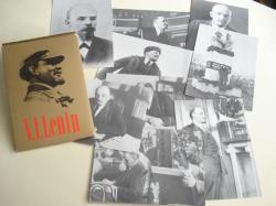 Ver os detalles de:  V. I. LENIN - 10 fotografías en branco e negro con texto en español en reverso. Colección en sobre de cartolina dorada