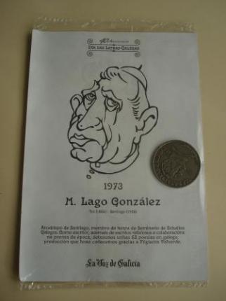 M. Lago González / Xoán Vicente Viqueira. Medalla conmemorativa 40 aniversario Día das Letras Galegas. Colección Medallas Galicia ao pé da letra - Ver los detalles del producto