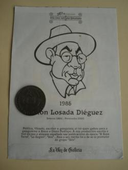 Ver os detalles de:  Antón Losada Diéguez / A. Iglesia Alvariño. Medalla conmemorativa 40 aniversario Día das Letras Galegas. Colección Medallas Galicia ao pé da letra