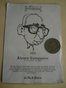Ver os detalles de:  Álvaro Cunqueiro / Fermín Bouza Brey. Medalla conmemorativa 40 aniversario Día das Letras Galegas. Colección Medallas Galicia ao pé da letra