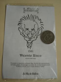 Ver os detalles de:  Vicente Risco / Luis Amado Carballo. Medalla conmemorativa 40 aniversario Día das Letras Galegas. Colección Medallas Galicia ao pé da letra