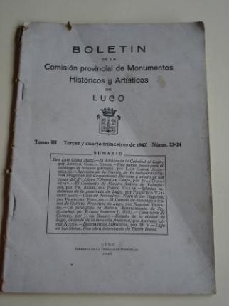 Boletín de la Comisión provincial de Monumentos Históricos y Artísticos de Lugo. Números 23-24. Tercer y cuarto trimestres de 1947 - Ver os detalles do produto