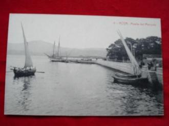 Tarxeta postal: Noia (Noya)- Vista parcial. Peirao do Marqués - Muelle del Marqués.  1920 - Ver los detalles del producto