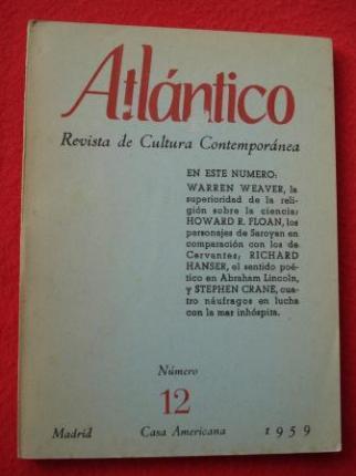 ATLÁNTICO. Revista de Cultura Contemporánea. Número 12, 1959. Casa Americana - Madrid - Ver os detalles do produto