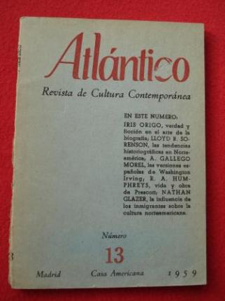 ATLÁNTICO. Revista de Cultura Contemporánea. Número 13, 1959. Casa Americana - Madrid - Ver os detalles do produto