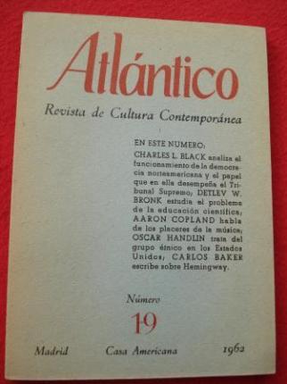 ATLÁNTICO. Revista de Cultura Contemporánea. Número 19, 1962. Casa Americana - Madrid - Ver os detalles do produto