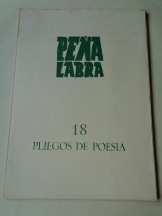 PEÑA LABRA. Pliegos de poesía, nº 18. Invierno 1975-76. Carpeta con 5 cuadernos en pliegos - Ver los detalles del producto