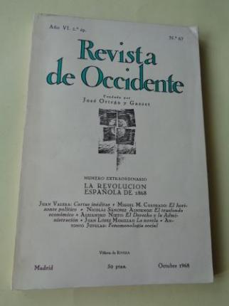 REVISTA DE OCCIDENTE. Año VI, 2ª ép. Núm. 67. Octubre 1968 - Ver os detalles do produto