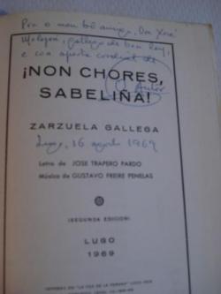 Ver os detalles de:  Non chores, Sabeliña (Zarzuela Gallega)