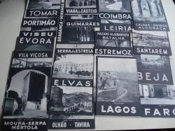 Ver os detalles de:  Lote de 24 folletos turísticos con ilustracións e fotografías en branco e negro de 24 cidades e vilas de Portugal (1948)