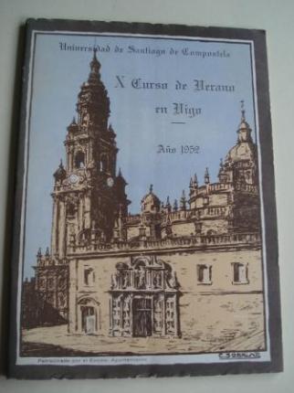 Programa  de mano. X CURSO DE VERANO EN VIGO (Galicia). AÑO 1952. UNIVERSIDAD DE SANTIAGO DE COMPOSTELA - Ver os detalles do produto
